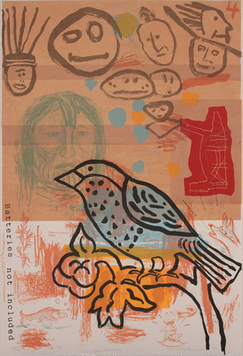 "A painted image of a bird with some stick figure faces drawn in the background, the words ""Batteries Not Included"" are typewritten vertically on the left side. The colors are terracotta neutrals -- brown, tan, red, and orange, with a bit of blue on the bird."