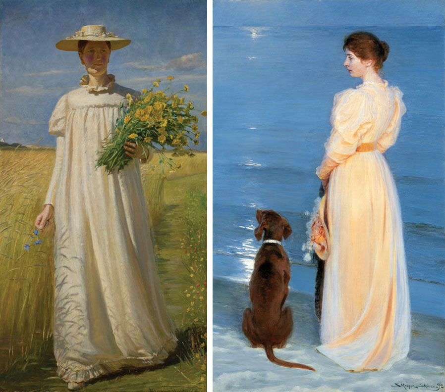 (Left) Michael Ancher, Anna Ancher returning from the field, 1902; (Right) P.S. Krøyer , Summer evening at Skagen, 1892
