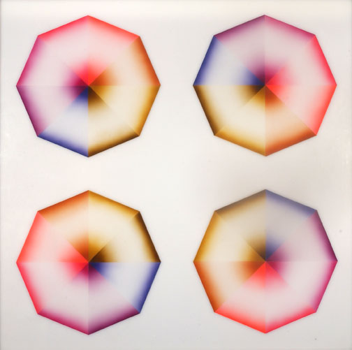 Judy Chicago, Pasadena Lifesavers Red #5, 1970, Sprayed acrylic lacquer on acrylic, 60 x 60 in.,Gift of Elyse and Stanley Grinstein