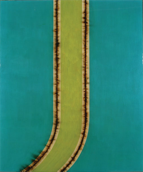 L.C. Armstrong, Blue Shift, 1996. Acrylic and bomb fuse under synthetic resin on birch plywood, 48 x 40 in., Gift of Heather and Tony Podesta Collection