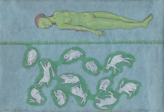 Audrey Niffenegger, Life Under Ground, 2004; Colored pencil and graphite on paper, 8 x 12 in.; Collection of Mary Jean Thomson, Riverwoods, Illinois