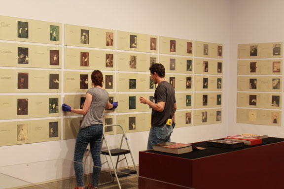 Artwork from Niffenegger's artist's book The Adventuress is installed at NMWA