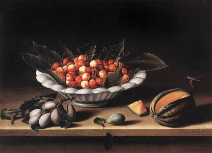 Louise Moillon, Cup of Cherries and Melon, 1633; Louvre Museum