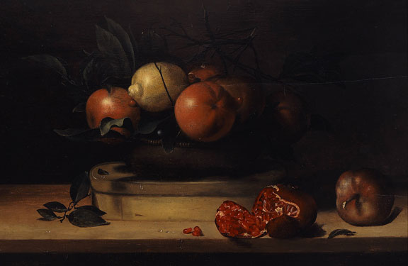 Louise Moillon, Bowl of Lemons and Oranges on a Box of Wood Shavings and Pomegranates, n.d., Gift of Wallace and Wilhelmina Holladay