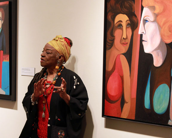 Faith Ringgold at NMWA with (right) American People Series #1: Between Friends, 1963; Collection Friends of the Neuberger Museum of Art, (c) Faith Ringgold