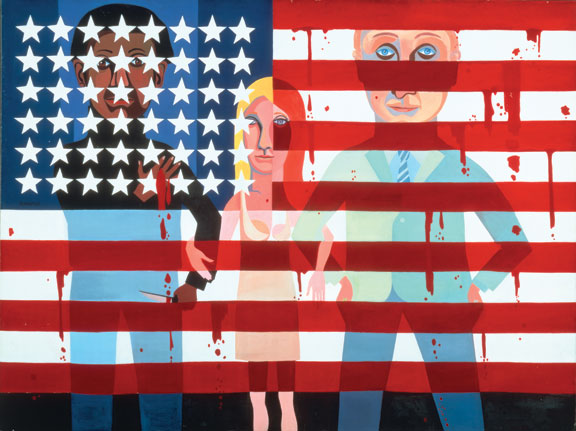 Faith Ringgold, American People #18: The Flag is Bleedingm 1967; Courtesy of Faith Ringgold and ACA Galleries, (c) Faith Ringgold 1967