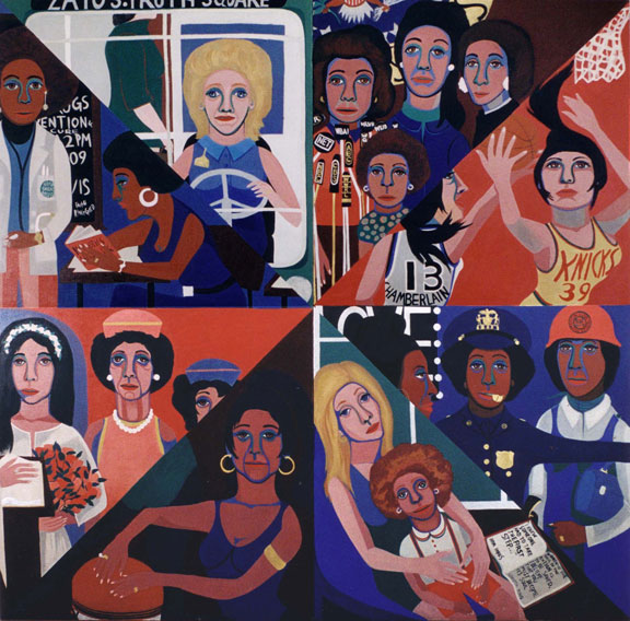For the Women's House, 1971; Oil on canvas, 96 x 96 in.; (c) Faith Ringold, image courtesy of the artist and Rose M. Singer Center, New York