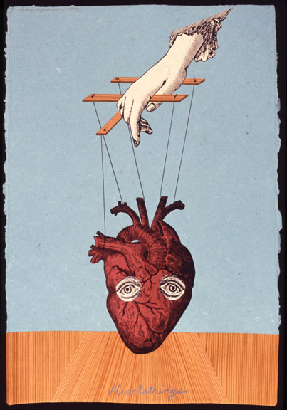 Audrey Niffenegger, Heartstrings, 1993; Collage on handmade paper; Collection of Jerry Ginsburg, Courtesy of the artist