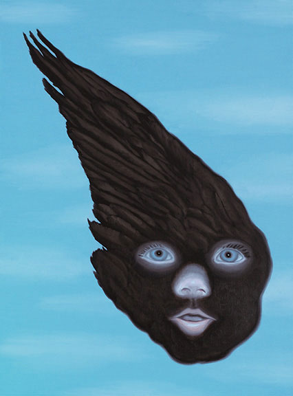 Raven Girl, 2012; Oil on wood panel, 23 3/4 x 17 3/4 in.; Courtesy of the artist