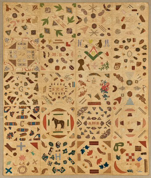 Pictorial Quilt, ca. 1840; Cotton and cotton thread, 67 ¾ x 85 ½ in.; Brooklyn Museum, Gift of Mrs. Franklin Chace, 44.173.1; Photography by Gavin Ashworth, 2012, courtesy of the Brooklyn Museum