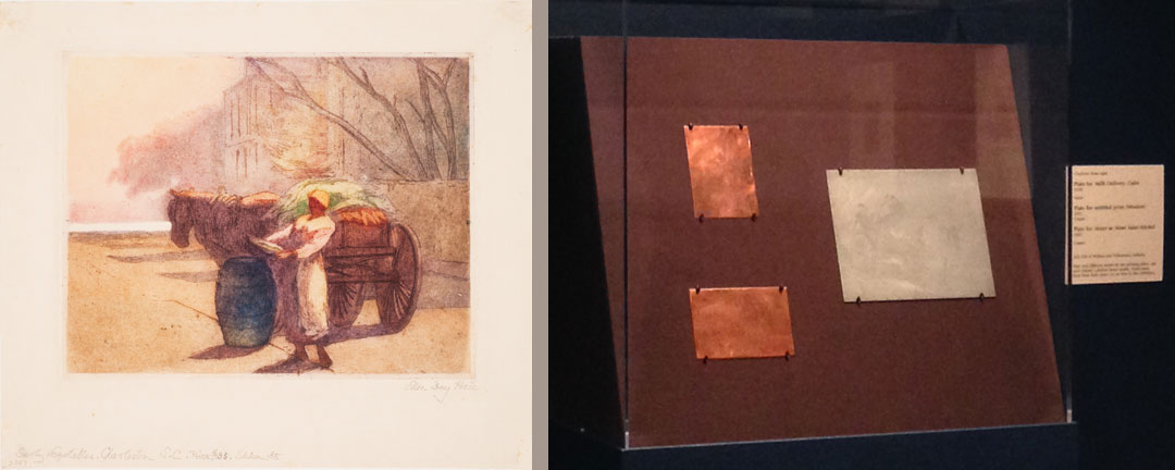 Left: Milk Delivery, Cairo, 1930; Soft-ground etching with aquatint on paper; Right: On view, a series of etching plates includes a plate for Milk Delivery, Cairo, allowing gallery visitors to see Hale's preparatory work alongside finished prints
