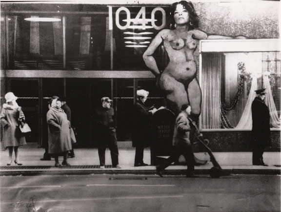 Anita Steckel, Just Waiting for the Bus, Photo-montage, 1969–70; Image courtesy of the Anita Steckel Estate