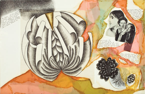 Judy Chicago, Virginia Woolf (preparatory drawing for The Dinner Party), 1976; Mixed media on paper, 24 x 36 in.; National Museum of Women in the Arts, Gift of MaryRoss Taylor in honor of Elizabeth A. Sackler