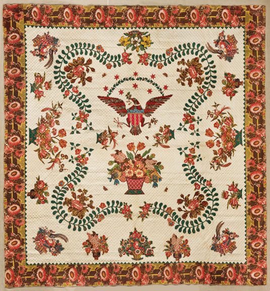 Elizabeth Welsh, Medallion Quilt, ca. 1830; Cotton, 110 ½ x 109 in.; Brooklyn Museum, Gift of The Roebling Society; 78.36; Photography by Gavin Ashworth, 2012, courtesy of the Brooklyn Museum