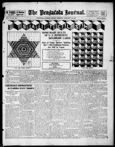 """Home-Made Quilts of U.S. Represent $675,000 in Labor."" The Pensacola Journal. February 24, 1907. Library of Congress, Chronicling America, Washington, D.C."