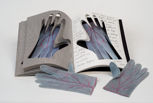 Meret Oppenheim, Gloves, 1985; From the limited edition of 150 pairs of gloves housed in the Deluxe Edition of Parkett magazine, no 4., 1985; 8 3/4 x 3 1/4 in. (each glove); Screenprint on goat suede, hand-stitched; Edition 107/150; NMWA, Gift of Thomas Hill in memory of Rosemary Furtak; Image courtesy of Lisa Wenger and Martin A. Bühler, Meret Oppenheim Estate