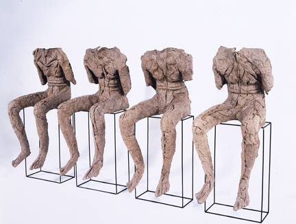 Magdalena Abakanowicz, 4 Seated Figures, 2002; Gift of Patti Cadby Birch and partial museum purchase: Members' Art Acquisition Fund
