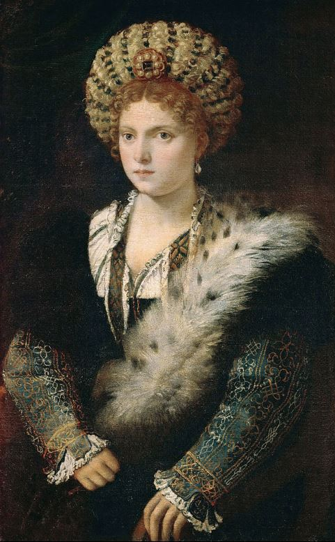 Titian, portrait of Isabella d'Este, ca. 1534-36; click here for more information on her setting in Judy Chicago's Dinner Party