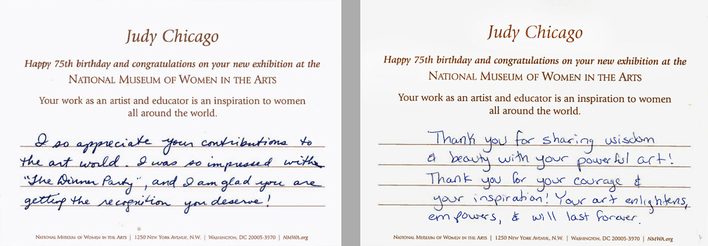 "Cards from NMWA members to Chicago: ""Thank you for sharing wisdom and beauty with your powerful art!"""