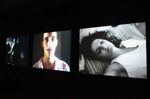 Installation view of Margaret Salmon, Ninna Nanna, 2007; 3-screen installation of 16-mm films transferred to DVD; Collection of Hirshhorn Museum and Sculpture Garden, Smithsonian Institution, Washington, D.C., Museum purchase through the contributions of members of the  Contemporary Acquisitions Council and the Joseph H. Hirshhorn Purchase Fund, 2008; Photo Jake Erlich