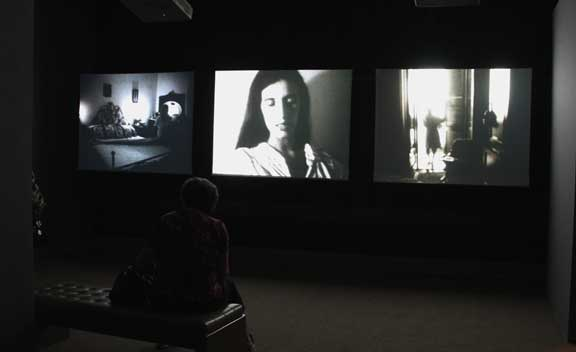 Margaret Salmon, Ninna Nanna, 2007; 3-screen installation of 16-mm films transferred to DVD; Collection of Hirshhorn Museum and Sculpture Garden, Smithsonian Institution, Washington, D.C., Museum purchase through the contributions of members of the  Contemporary Acquisitions Council and the Joseph H. Hirshhorn Purchase Fund, 2008; Image courtesy of the artist and Office Baroque, Brussels; Photo Laura Hoffman