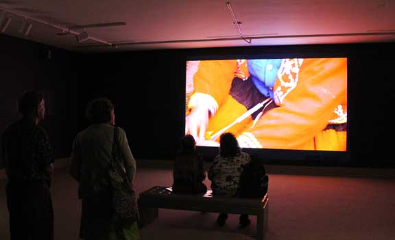 Kimsooja, Thread Routes–Chapter 1, 2010; Single-channel video projection, 16-mm film transferred to HD format, and sound; Courtesy of Kimsooja Studio; Installation photo Laura Hoffman