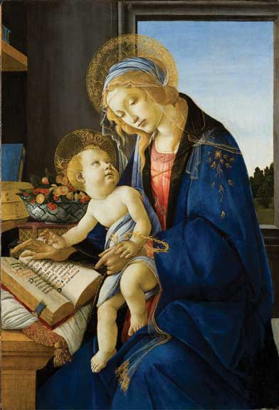 Sandro Botticelli (Alessandro Filipepi), Madonna and Child (Madonna col Bambino), also called Madonna of the Book (Madonna del Libro), 1480–81; Tempera and oil on wood panel, 22 7/8 × 15 5/8 in.; Museo Poldi Pezzoli, Milan; inv. 443