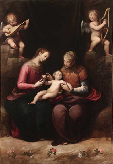 Madonna and Child with St. Anne (Madonna col Bambino e Sant'Anna), ca. 1630s; Oil on canvas, 113 × 72 7/8 in.; Parrocchia Sant'Antonio di Padova, Moncalvo, Asti