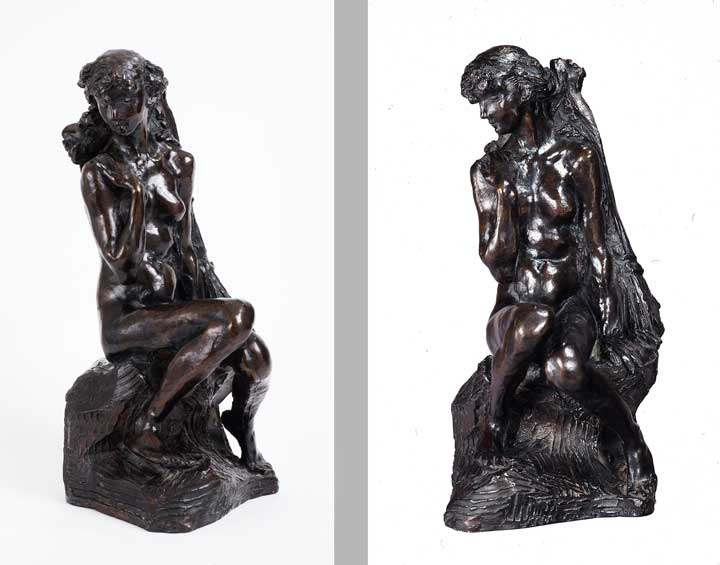 Two views of Camille Claudel's Young Girl with a Sheaf, ca. 1890; Bronze; Gift of Wallace and Wilhelmina Holladay; Photographs by Lee Stalsworth