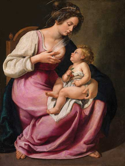 A detailed old oil painting of the Virgin Mary taking her breast out from her pink dress to feet a chubby, baby Christ. They are both light-skinned, and Mary has curly brown hair pulled up, and Christ has curly blond hair.