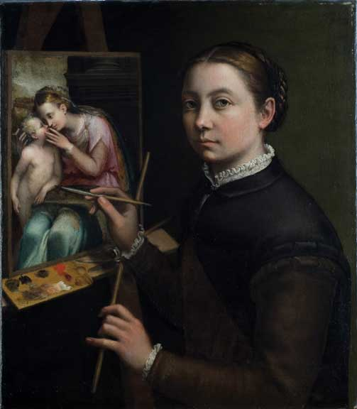 A light-skinned adult woman with brown hair neatly pulled back in a bun carefully paints a detailed, realistic oil painting on an easel of a woman tenderly kissing a young child. The artist's body faces to the side, toward the painting, but her face is turned toward the viewer.