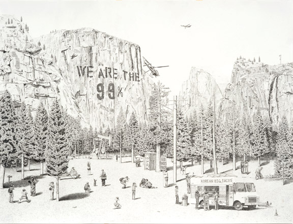 Jennifer Celio, NIMBY (national park), 2012; Graphite on Yupo paper, 38 x 50 in.; Courtesy of the artist; Photography by Alan Shaffer