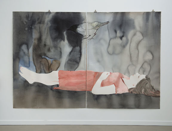 Françoise Pétrovitch, Untitled, 2014; Ink on paper, 63 x 94 1/2 in.; Courtesy of Semiose galerie, Paris; Photography by Hervé Plumet