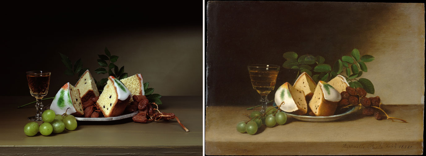 Left: Sharon Core, Early American, Tea Cakes and Sherry, 2007; Chromogenic color print; 13¾ x 17½ inches; NMWA, Gift of the Heather and Tony Podesta Collection, Washington, D.C.; © Sharon Core, Courtesy of the artist and Yancey Richardson Gallery; Right: Raphaelle Peale, Still Life with Cake, 1818; Oil on wood, 10 3/4 x 15 1/4 in.; Maria DeWitt Jesup Fund, 1959, Metropolitan Museum of Art