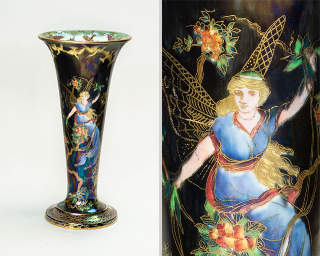 Trumpet vase, ca. 1916–31; Bone china with underglaze, luster, and gilding, 9 1/2 x 4 3/4 in.