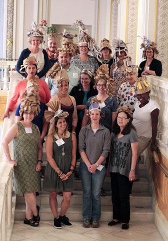 Teachers wear their hats; Photo credit: Laura Hoffman