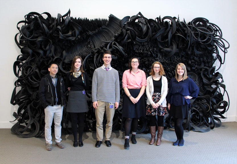 Spring 2015 interns in front of Chakaia Booker's Acid Rain