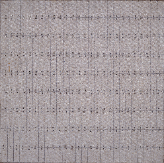 Agnes Martin, The Wall #2, 1962; Oil and graphite on canvas, mounted on board with nails, 10 x 10 in.; NMWA, Gift of Wallace and Wilhelmina Holladay; © 2012 Agnes Martin / Artists Rights Society (ARS), New York