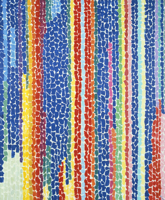 Alma Woodsey Thomas, Iris, Tulips, Jonquils, and Crocuses, 1969; Acrylic on canvas, 60 x 50 in.; NMWA, Gift of Wallace and Wilhelmina Holladay