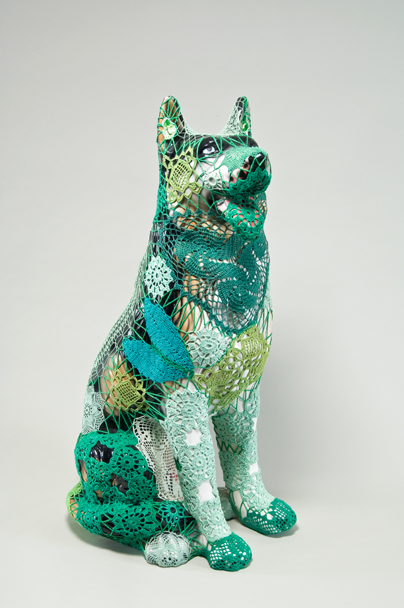 Joana Vasconcelos, Viriato, 2005; Faience dog, handmade cotton crochet, 29 1/2 x 17 3/4 x 15 3/4 in.; Gift of Heather and Tony Podesta Collection, Washington, DC