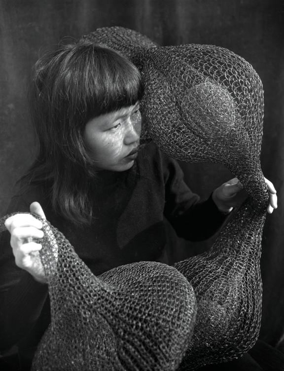 3-Asawa-Ruth_HoldingSculpture