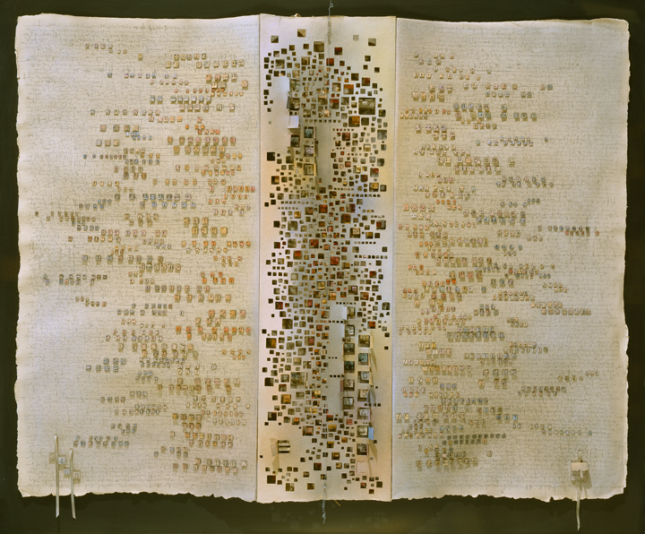 Elena Presser, Unfinished Symphony, 1982; Paper, pastel, pencil, silk thread, silk ribbon, and wire, 29 x 36 in.; National Museum of Women in the Arts, Gift of Members' Art Acquisition Fund and the artist; Photo: Lee Stalsworth