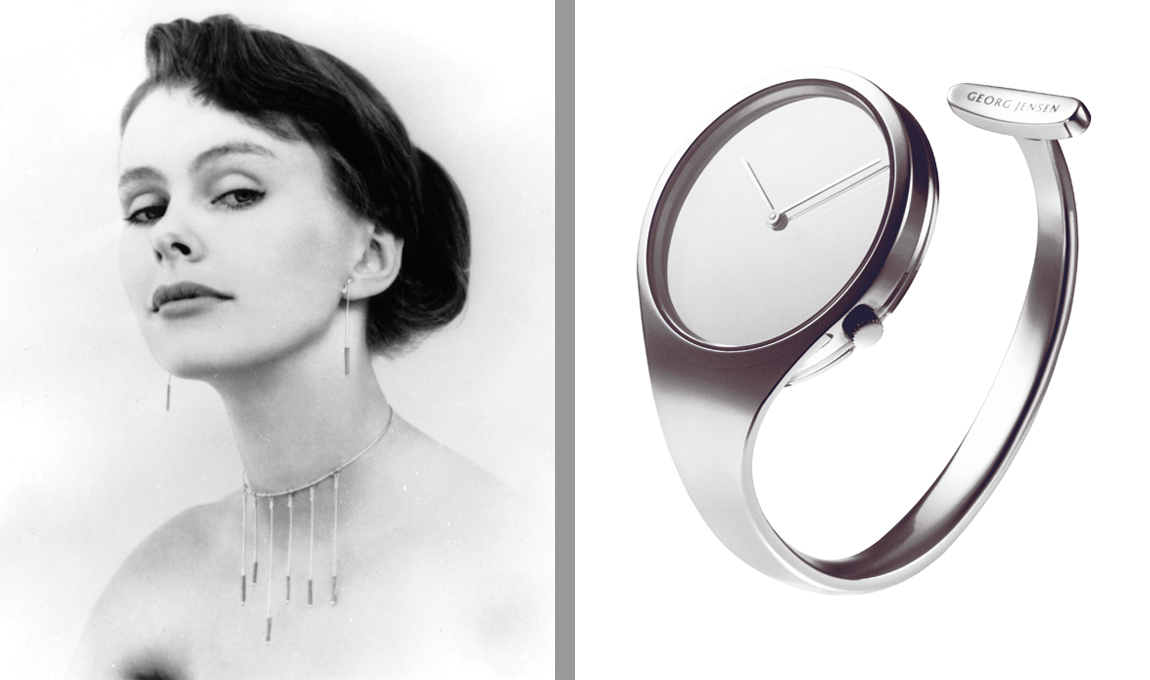 Left: Image of Viviana Torun Bülow-Hübe, 1954; Right: Vivianna Torun Bülow-Hübe (manufactured by Georg Jensen), Vivianna Bangle Watch, 1969; Stainless steel, 3 x 1 3/8 in.; Photos courtesy of George Jensen