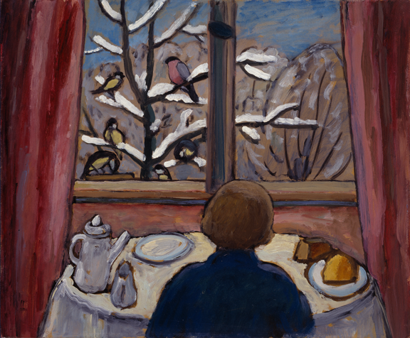 Gabriele Münter, Breakfast of the Birds, 1934; Oil on board, 18 x 21 ¾ in, Gift of Wallace and Wilhelmina Holladay; © 2012 Artists Rights Society (ARS), New York / VG Bild-Kunst, Bonn