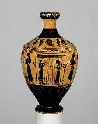 Lekythos, ca. 550–530 B.C.; Archaic, black–figure attributed to the Amasis Painter, Metropolitan Museum of Art