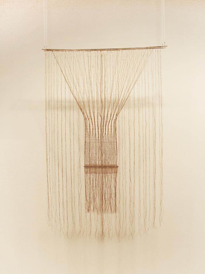 Lenore Tawney, Lekythos, 1962; Linen, 50 x 31 x 1 3/4 in; Lenore G. Tawney Foundation