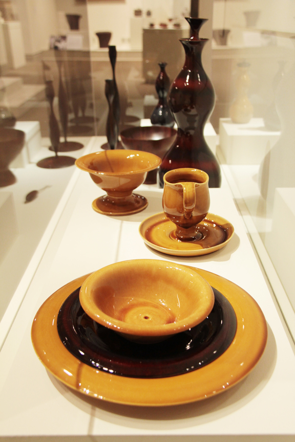 Installation view of Eva Zeisel's ceramics in Pathmakers