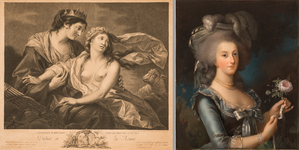 Left to right: Francesco Bartolozzi, Innocence Taking Refuge in the Arms of Justice, 1783, after the original by Élisabeth Louise Vigée-LeBrun, 1779, Engraving on paper; NMWA, Gift of Wallace and Wilhelmina Holladay and Unknown artist, Marie Antoinette Holding a Rose, n.d., after the original by Élisabeth Louise Vigée-LeBrun, 1783, Pastel on paper; NMWA, Gift of Wallace and Wilhelmina Holladay
