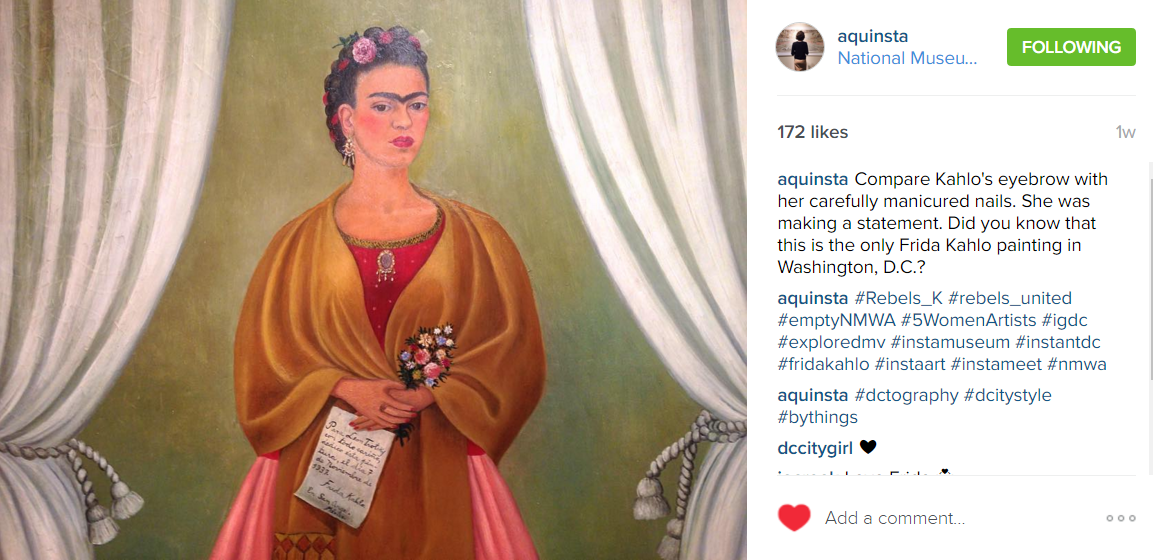 """2016-03-21 16_54_41-Alana Quinn on Instagram_ """"Compare Kahlo's eyebrow with her carefully manicured"""