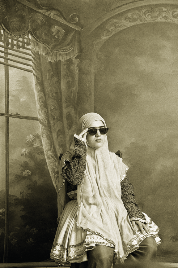 "Shadi Ghadirian, Untitled, from the series ""Qajar,"" 1998, Gelatin silver print, 15 3/4 x 11 7/8 in.; MFA Boston; Museum purchase with the Horace W. Goldsmith Fund for Photography and Abbott Lawrence Fune, 2013.571; © Shadi Ghadirian; Photo © 2015 MFA Boston"